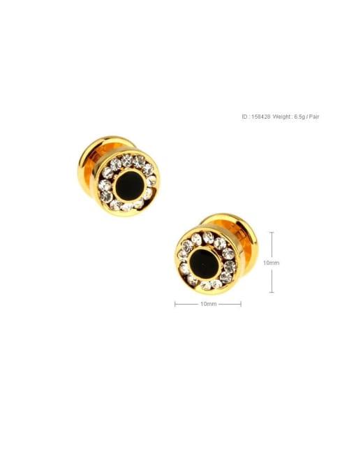 golden Brass Rhinestone Geometric Vintage Cuff Link