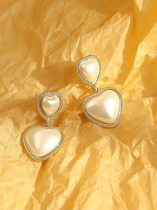 14k Gold Pearl White Brass Enamel Heart Ethnic Drop Earring