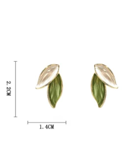 HYACINTH Brass Enamel Tree Minimalist Clip Earring 3