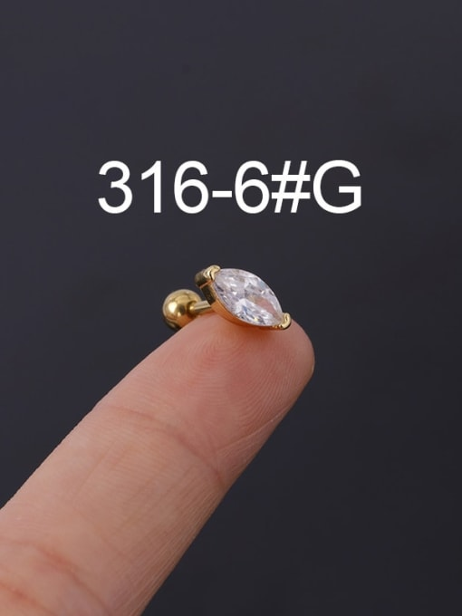 6G Stainless steel with Cubic Zirconia Ear Bone Nail/Puncture Earring