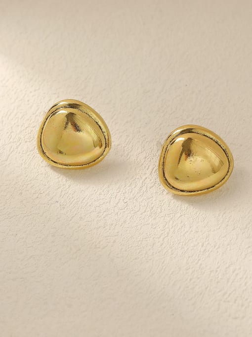 Ancient gold Brass Smooth Triangle Minimalist Stud Trend Korean Fashion Earring
