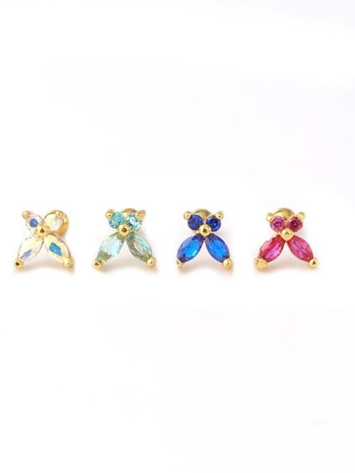 HISON Brass Cubic Zirconia Butterfly Cute Stud Earring 4