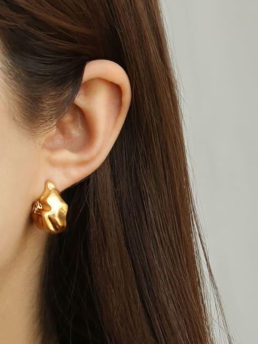 ACCA Brass Smooth Irregular Vintage Stud Earring 1
