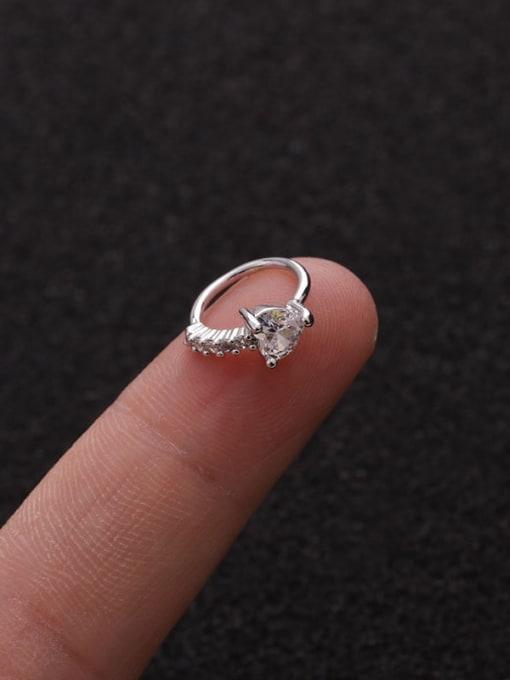 Heart(Single) Brass Cubic Zirconia Heart Cute Huggie Earring