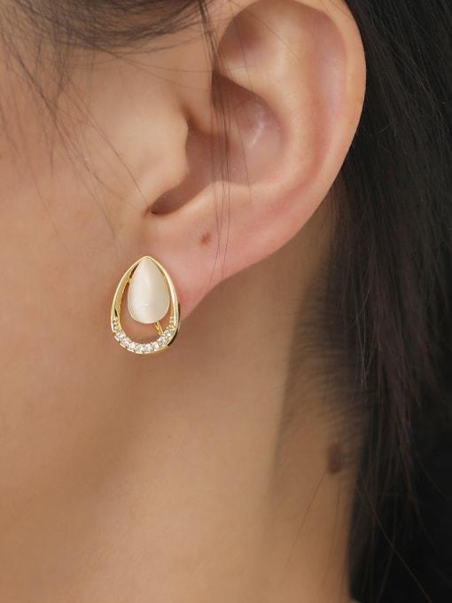 HYACINTH Brass Cats Eye Water Drop Minimalist Stud Earring 1