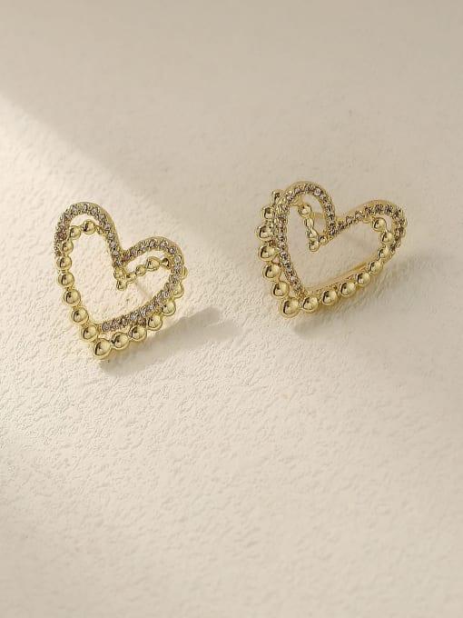 14K gold Brass Rhinestone Heart Vintage Stud Trend Korean Fashion Earring