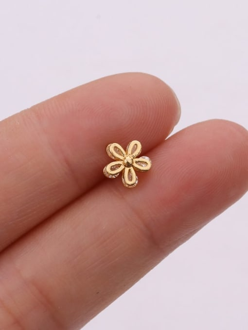 HISON Brass Cubic Zirconia Flower Cute Stud Earring (single) 4