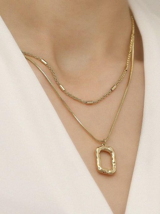 HYACINTH Brass Vintage  Hollow  Geometric Pendant Trend Korean Fashion Necklace 1