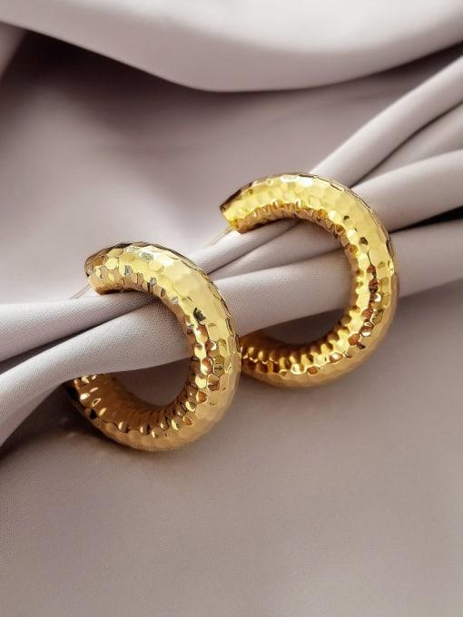 16K gold Brass Geometric Minimalist Hoop Earring