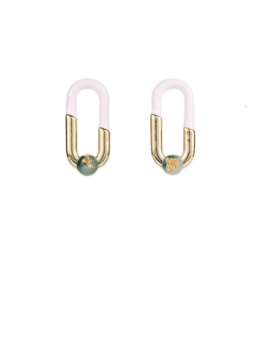 Ear Studs Brass Cubic Zirconia Enamel Geometric Hip Hop Stud Earring