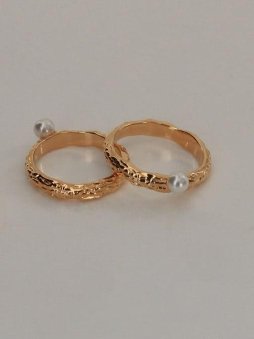 ACCA Brass Imitation Pearl Irregular Vintage Band Ring 1