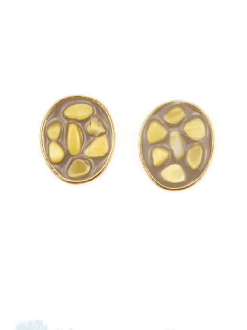 Yellow shell Alloy Glass Stone Round Hip Hop Stud Earring