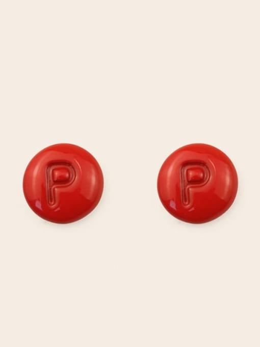 P Alloy Enamel Letter Minimalist Stud Earring