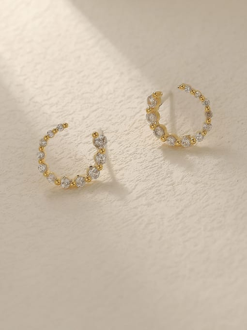 14k Gold Brass Cubic Zirconia Geometric Minimalist Stud Trend Korean Fashion Earring