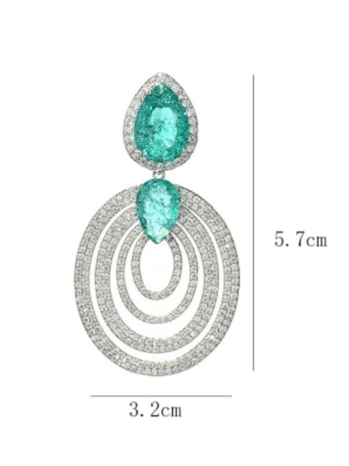 SUUTO Brass Cubic Zirconia Geometric Vintage Cluster Earring 2