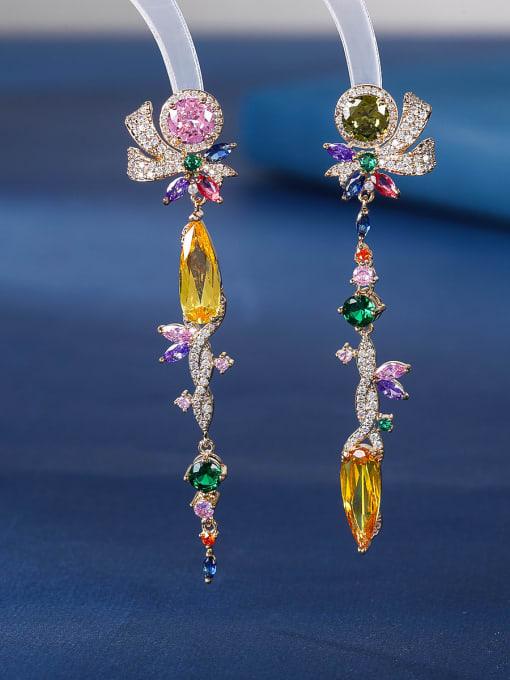 OUOU Brass Cubic Zirconia Tassel Luxury Drop Earring 2