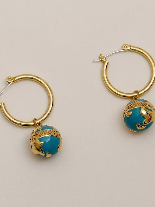 HYACINTH Brass Enamel Geometric Vintage Huggie Earring 3
