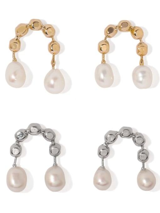 ACCA Brass Imitation Pearl Geometric Vintage Stud Earring 0