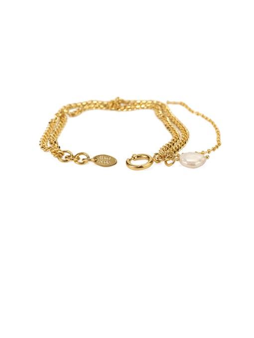 golden Brass Cats Eye Geometric Vintage Strand Bracelet