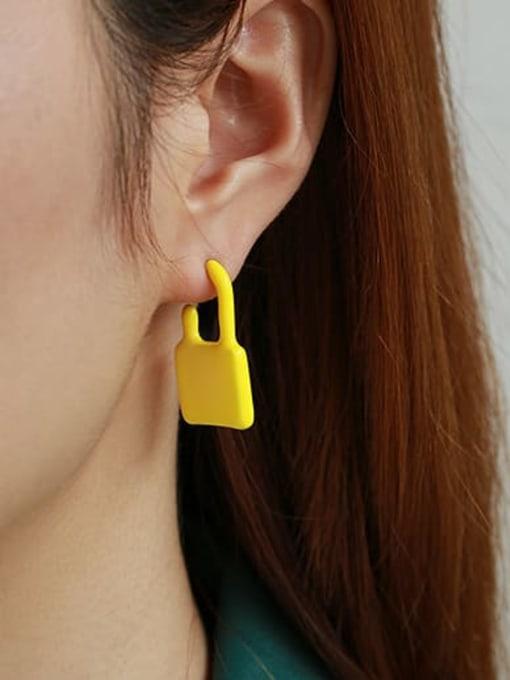 Yellow single Zinc Alloy Enamel Locket Minimalist Single Earring