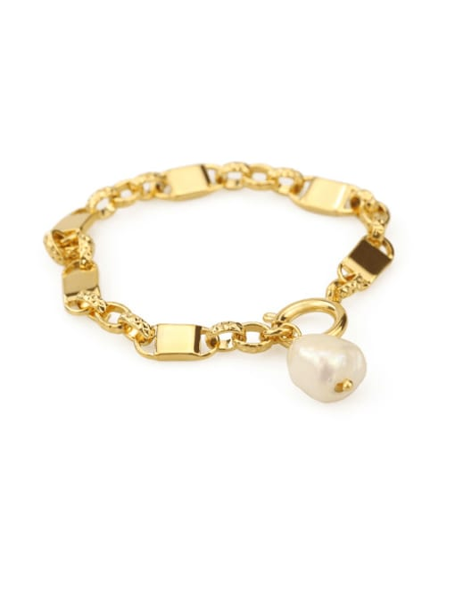ACCA Brass Freshwater Pearl Geometric Chain Vintage Bracelet 3