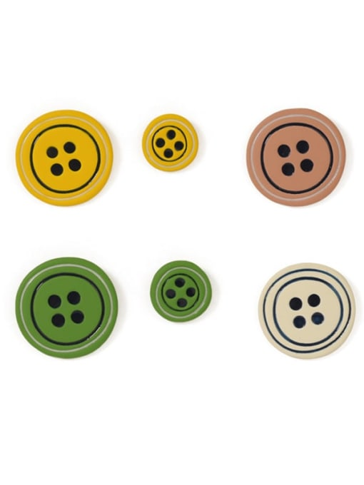 Five Color Alloy Enamel Geometric Cute  Candy color asymmetry Buttons Stud Earring 2