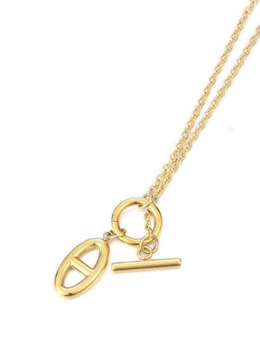Japanese character Necklace Brass Hollow Geometric Minimalist Necklace