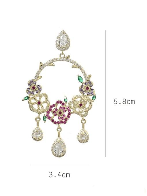 SUUTO Brass Cubic Zirconia Flower Bohemia Drop Earring 3