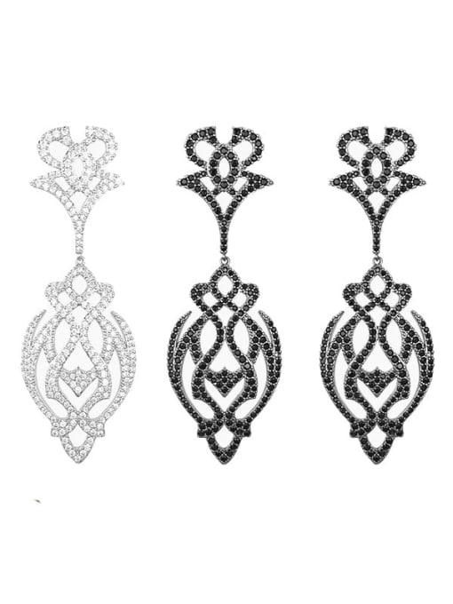 OUOU Brass Cubic Zirconia Flower Hip Hop Drop Earring 1