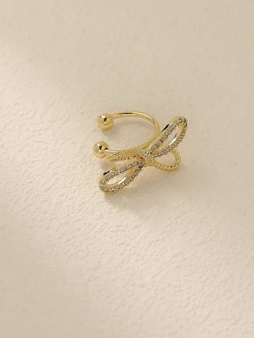 HYACINTH Brass Cubic Zirconia Bowknot Vintage Clip Earring 2