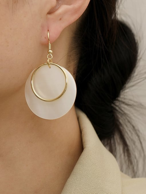 HYACINTH Brass Shell Geometric Minimalist Drop Trend Korean Fashion Earring 1