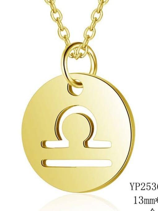 Libra gold Titanium Steel Constellation Minimalist  Round Pendant Necklace