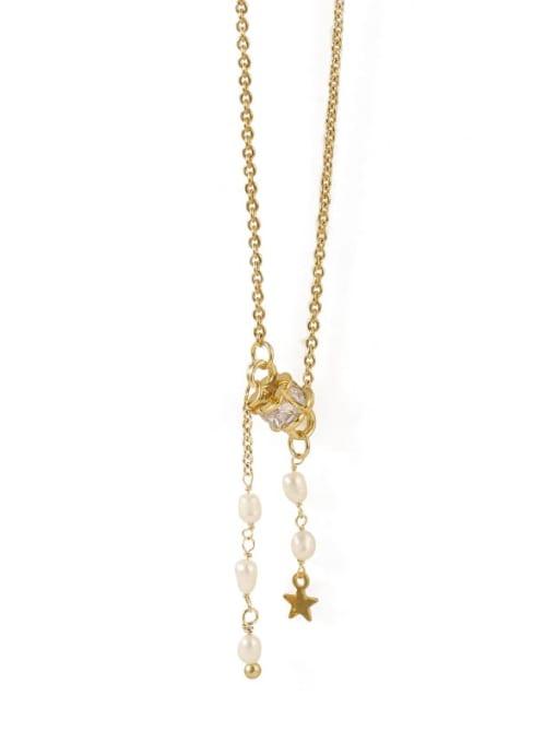 TINGS Brass Cubic Zirconia Tassel Vintage Lariat Necklace 4