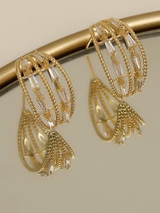 14k Gold Copper Cubic Zirconia Geometric Minimalist Stud Earring