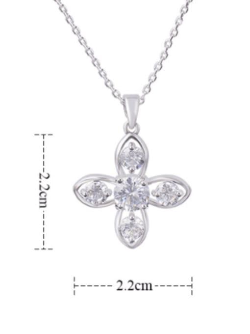 YILLIN Brass Cubic Zirconia Hollow Cross Minimalist Necklace 2