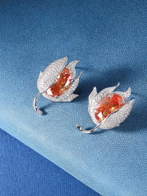 OUOU Brass Cubic Zirconia Flower Luxury Stud Earring 3