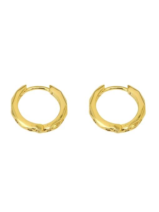 HYACINTH Copper Rhinestone Geometric Minimalist Huggie Earring 0