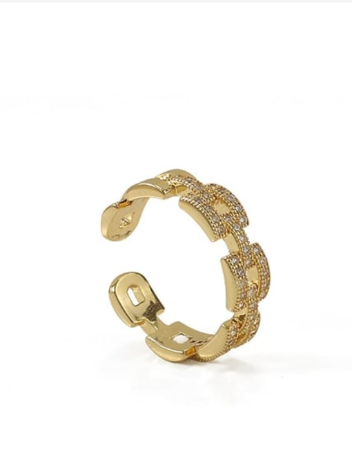 ACCA Brass Cubic Zirconia Geometric Vintage Band Ring 2