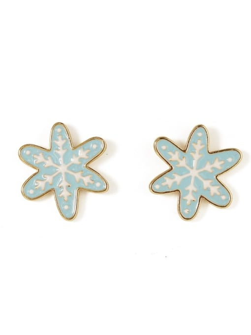 snowflake Alloy Enamel Flower Cute Stud Earring