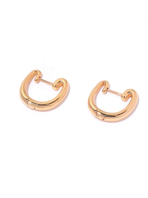 golden Brass Geometric Minimalist Huggie Earring