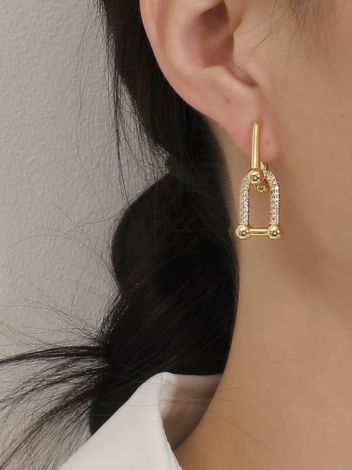 HYACINTH Brass Cubic Zirconia Geometric Vintage Drop Earring 1