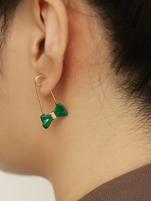 ACCA Brass Enamel Bowknot Minimalist Huggie Earring 1