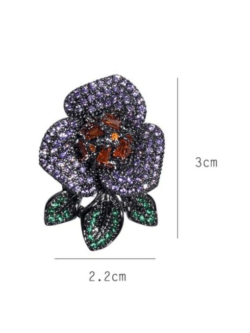 SUUTO Brass Cubic Zirconia Flower Vintage Stud Earring 3