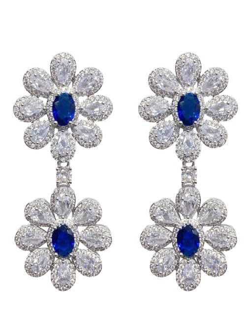 platinum Brass Cubic Zirconia Flower Luxury Drop Earring