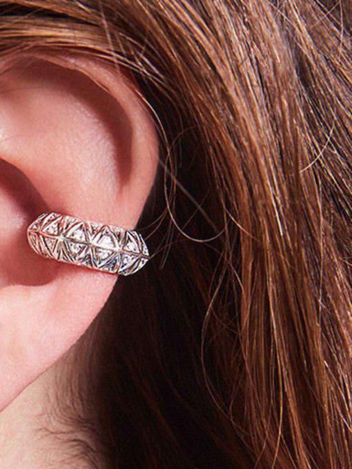 OUOU Brass Cubic Zirconia Geometric Vintage Clip Earring 1