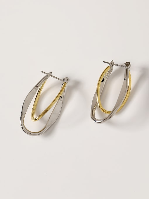 14k Gold +White K Brass Smooth Geometric Minimalist Drop Earring