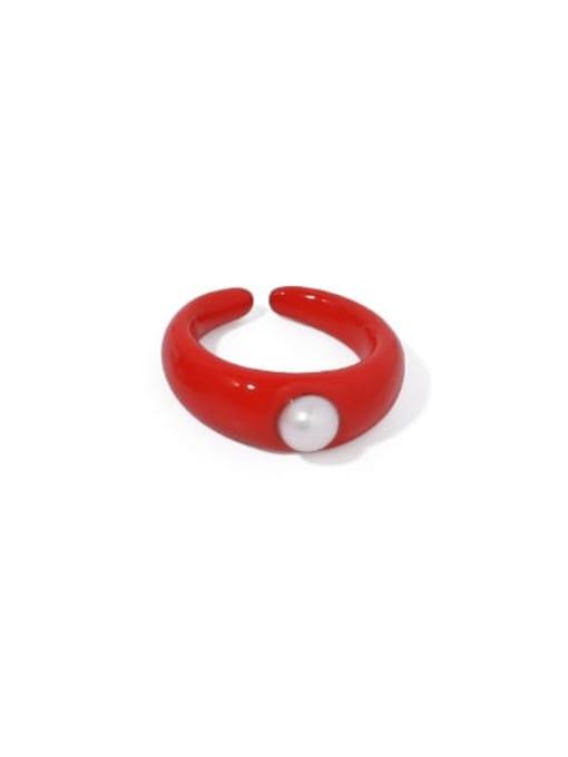 Red Pearl (No.6 ring) Brass Enamel Irregular Vintage Band Ring