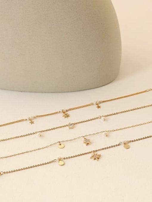Five Color Brass Cubic Zirconia Star Minimalist Link Bracelet 1
