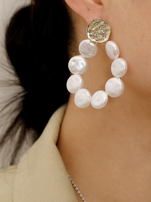 HYACINTH Brass Freshwater Pearl Geometric Vintage Drop Trend Korean Fashion Earring 1