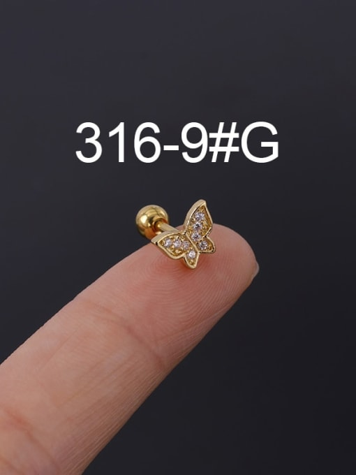 9G Stainless steel with Cubic Zirconia Ear Bone Nail/Puncture Earring